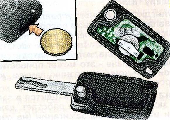 замена батареи в ключе пежо 307